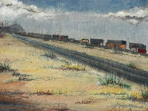 train running across golden prairie thread painting by Anne Eckley