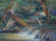 """Painted on location near Taos, a mountain stream cascades thru summer forest in WATER LACE 9"""" x 12"""" plein air pastel Lindy Cook Severns"""