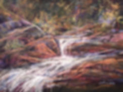 whitewater cascades over red rock in forest pastel painting