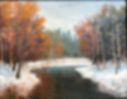 snowy forest and river oil painting by Anne Spier