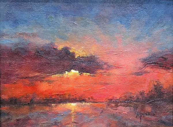 red and blue and violet sunset oil painting by Margaret Heath