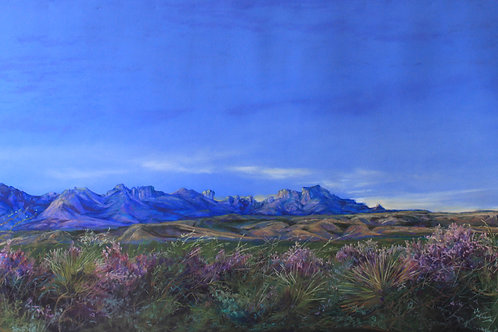 Blue on blue dawn on Chisos Mountains past lilac sage blossoms landscape painting by Lindy Cook Severns art