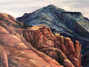 mountains in detail oil painting