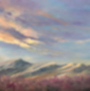 yellow sunrise clouds over blue mountains and purple sage painting