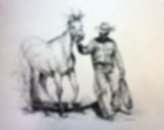 bridled horse and cowboy with rope drawing lindy cook severns art