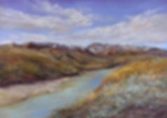 The lower Rio Grande flows beneath snow capped peaks and sagebrush, an original pastel painting by Lindy Cook Severns art
