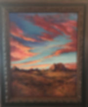 red sunset over desert framed pastel painting by Lindy Cook Severns