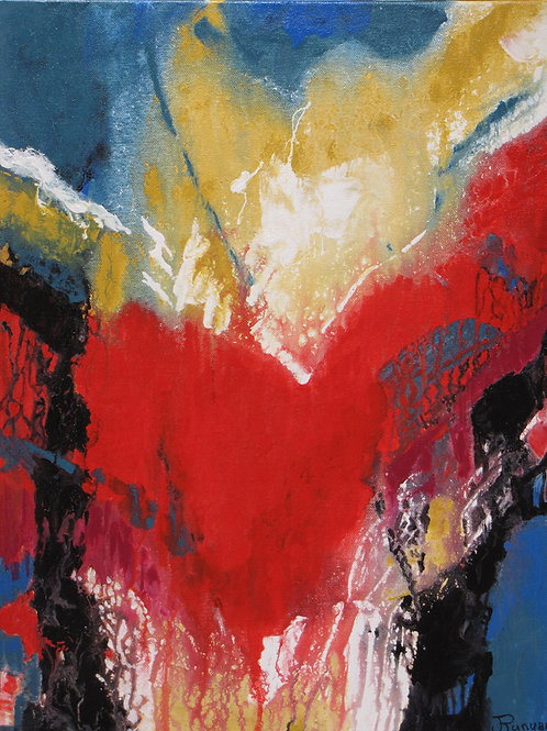 abstract painting in red yellow and white
