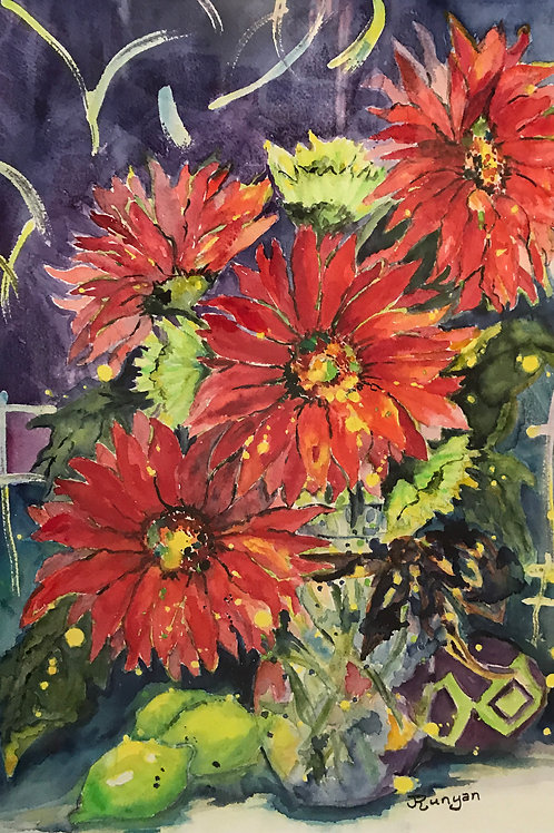 Red Flowers watercolor
