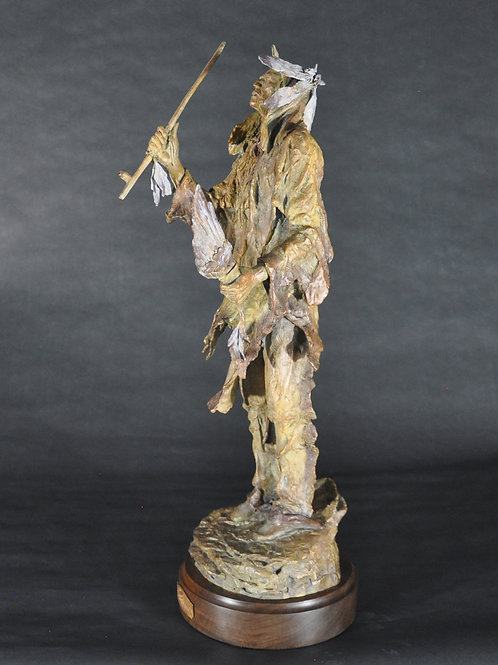 bronze Indian warrior sculpture