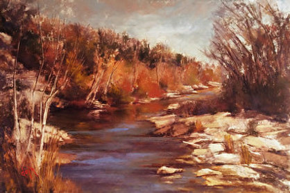 blue river thru golden foliage landscape painting