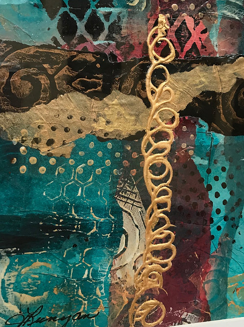 abstract painting in metallic gold and turquoise