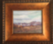 Snow capped desert peaks, a small framed pastel landscape painting by Lindy Cook Severns