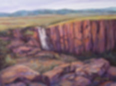 waterfall over rocks beneath the southern rockies north clear creek falls colorado landscape painting Lindy Cook Severns art