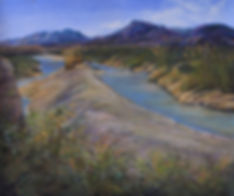 Rio Grande river sandbar with yellow cane a Lindy Cook Severns pastel landscape painting of Big Bend NP