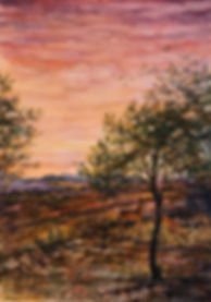 red washed mountain road and deer at sunrise watercolor landscape by Lindy Cook Severns