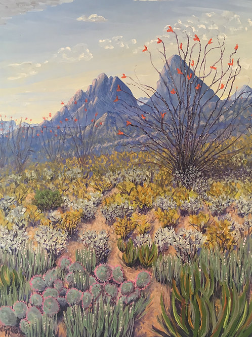 blue desert mountains with wildflowers and cactus oil painting