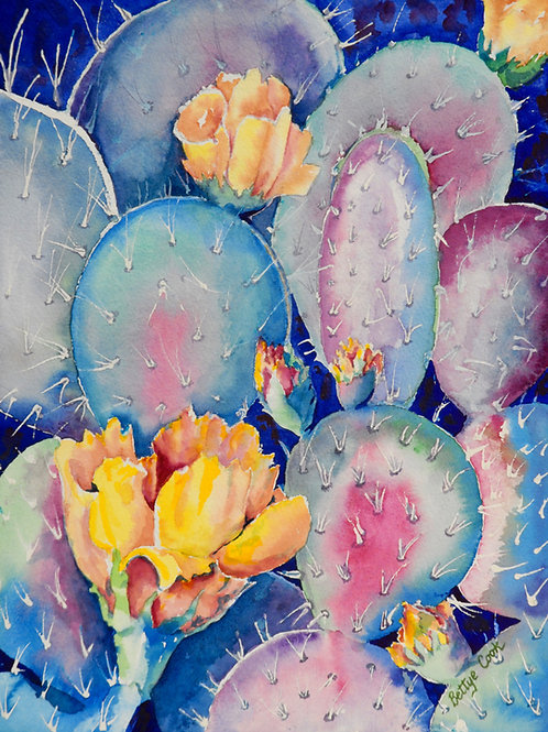 prickly pear cactus watercolor painting in turquoise yellow and rose by Bettye Cook