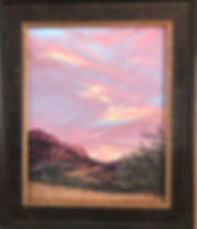framed mauve sunset on red cliffs framed painting by Lindy Cook Severns