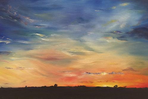 blue and orange sunset oil skyscape by Nicole Miller Saffery