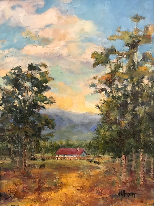 trees clouds mountains red roofed ranchhouse oil painting