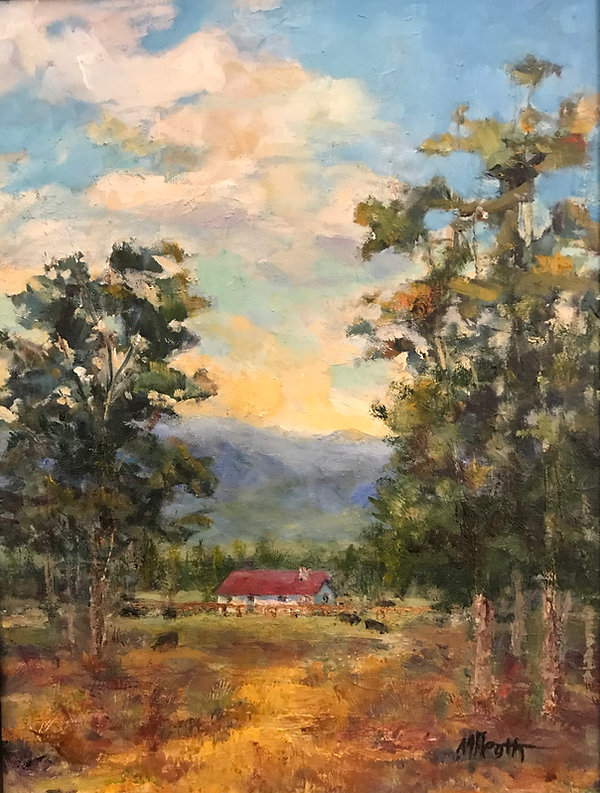 red roofed house trees mountains oil painting Margaret Heath