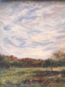 green grass and red cliffs under floating white clouds painting