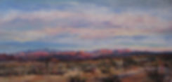 Desert sunset on the Chisos Mts of Big Bend NP in this landscape painting by Texas artist Lindy Cook Severns