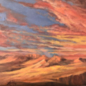 red and gold sunset over desert mountains oil painting Lindy Cook Severns art