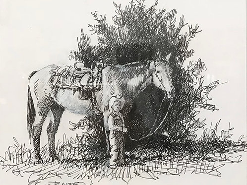 boy with horse pen and ink drawing