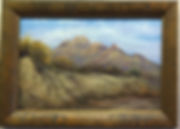 Framed pastel landscape painting, Bee Mountain in Terlingua by Lindy Cook Severns