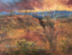 Desert plants and a wild burro admire the sunset in this landscape painting by Lindy Cook Severns art