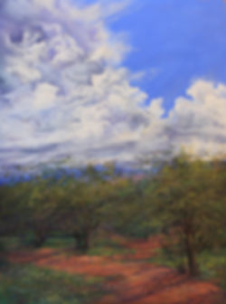 Summer green forest and a red dirt path under thunderstorm plein air pastel by Lindy Cook Severns