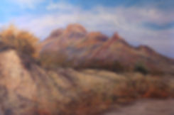 Bee Mountain in Terlingua above an eroded draw at dawn in this pastel landscape painting by Texas artist Lindy Cook Severns art