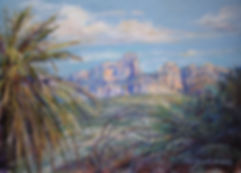 desert palms and pink and blue mountains painting by Lindy Cook Severns