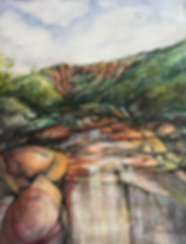 waterfalls in red rock creek watercolor by Lindy Cook Severns