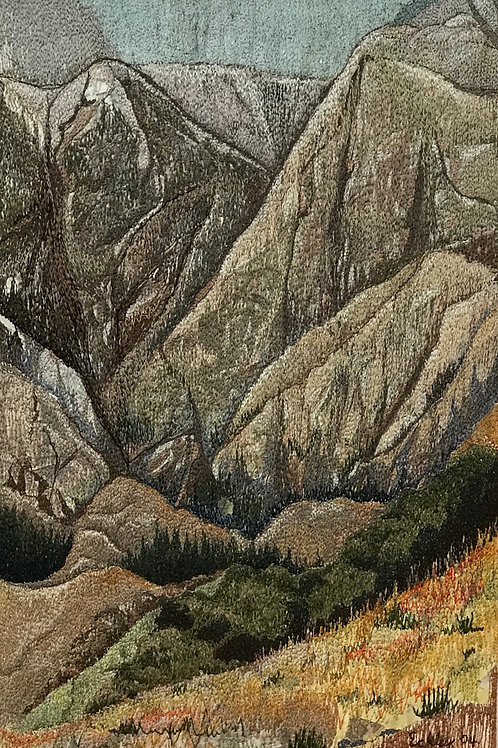 mountain landscape thread painting by Anne Eckley