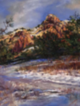 Footprints in snow beneath red rock cliffs pastel painting