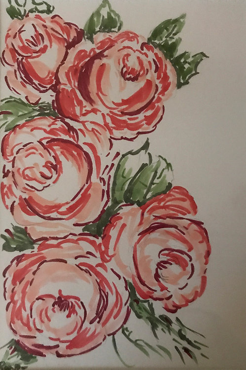 red roses colored ink drawing by Roxa Robison