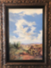 vertical oil painting of towering white clouds over desert canyons framed | Lindy Cook Severns