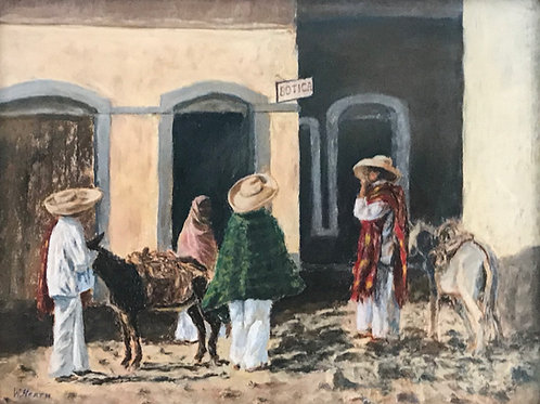 men in sombreros and serapes with burros pastel painting Wiley Heath