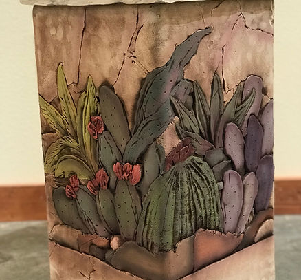 cactus flowers lamp john davis pottery