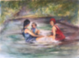 girl and ladies vintage swimmers sitting in river watercolor painting