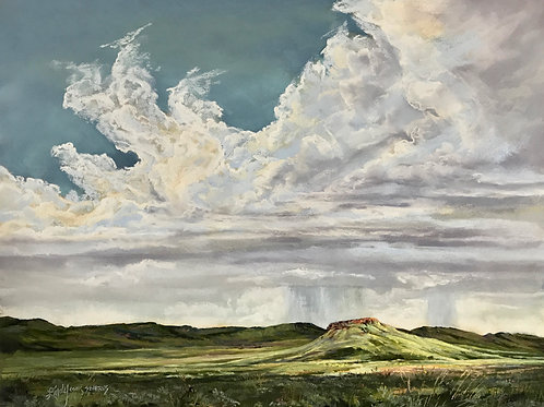 green mesa under white clouds with rain shower pastel painting by Lindy Cook Severns