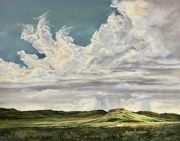 thundershower over green mesa pastel painting by Lindy Cook Severns