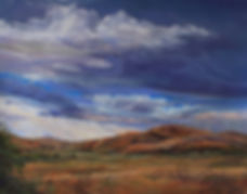 Dark blue rain clouds and mountain showers on red ochre ranchland color this pastel landscape painting by Lindy Cook Severns art