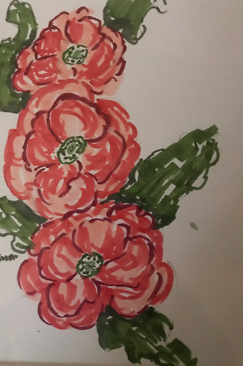 wild red roses colored ink drawing by Roxa Robison