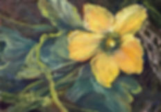 yellow flower and leaves miniature pastel painting Lindy Cook Severns
