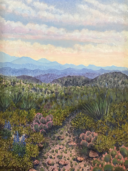 blue mountains past desert plants oil painting