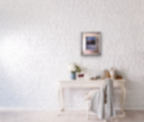 Footprints actual frame white brick wall